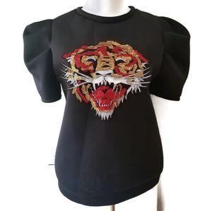 Fashion Queen Sequin Tiger Scuba Top Sz Large
